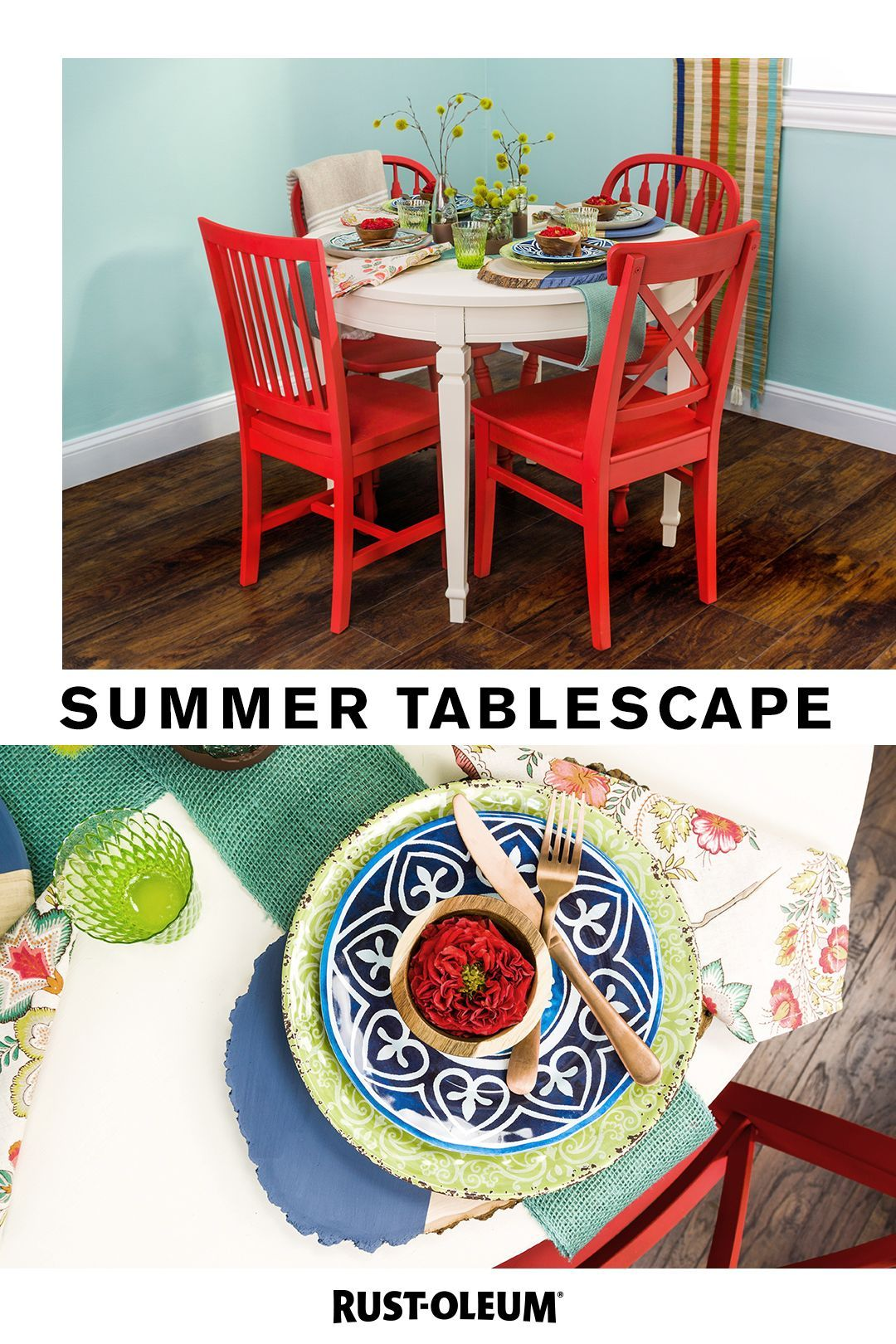 Chalk up your next project as a victory with this summer tablescape made with Rust-Oleum Chalked Paint. #prideinthemaking