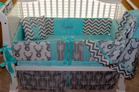 Baby Girl Deer Bedding Teal And Grey Google Search Baby Boy