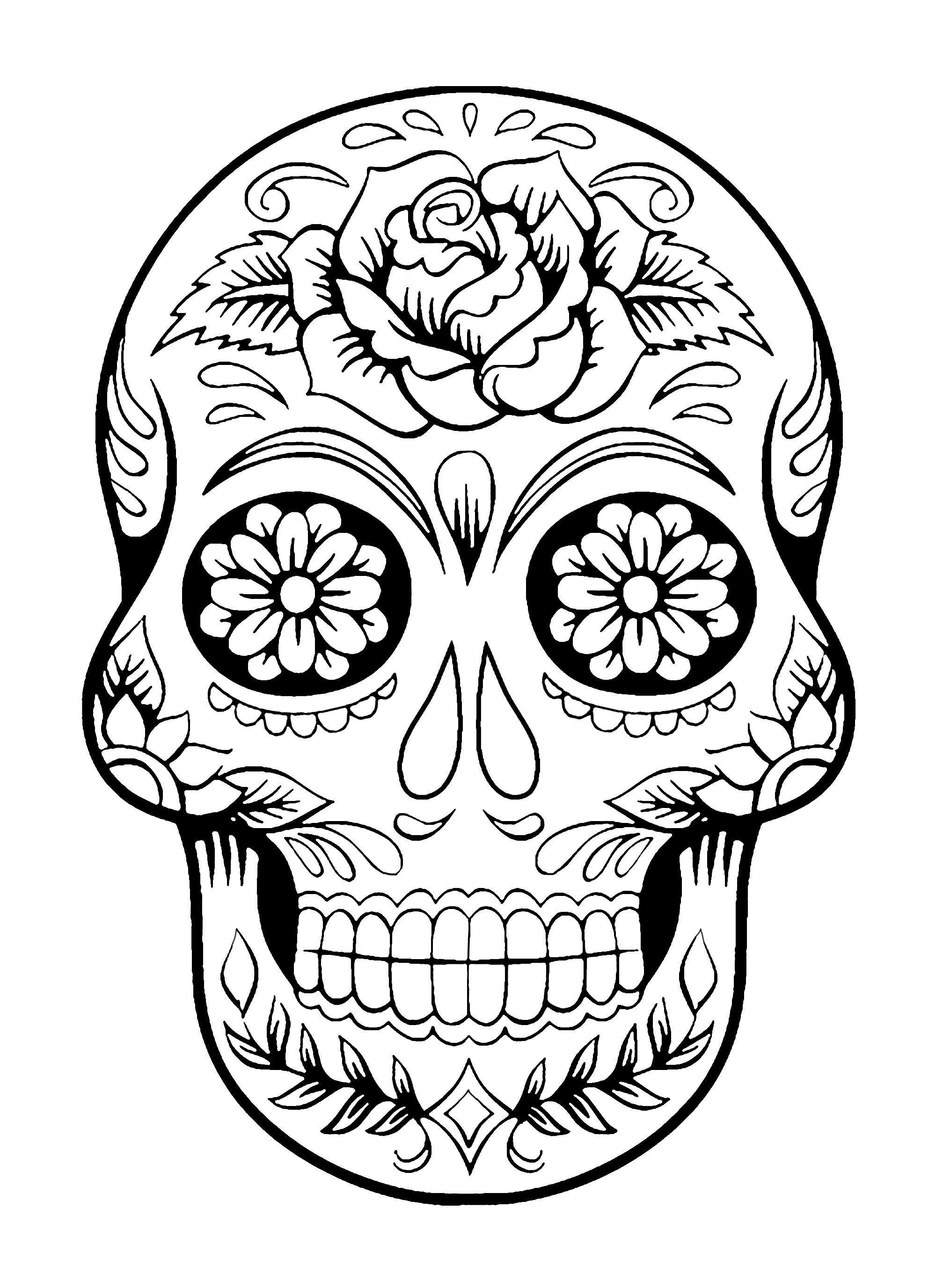 Sugar Skull Printable Coloring Pages 1 Free Coloring Sheets Skull Coloring Pages Sugar Skull Drawing Skull Drawing