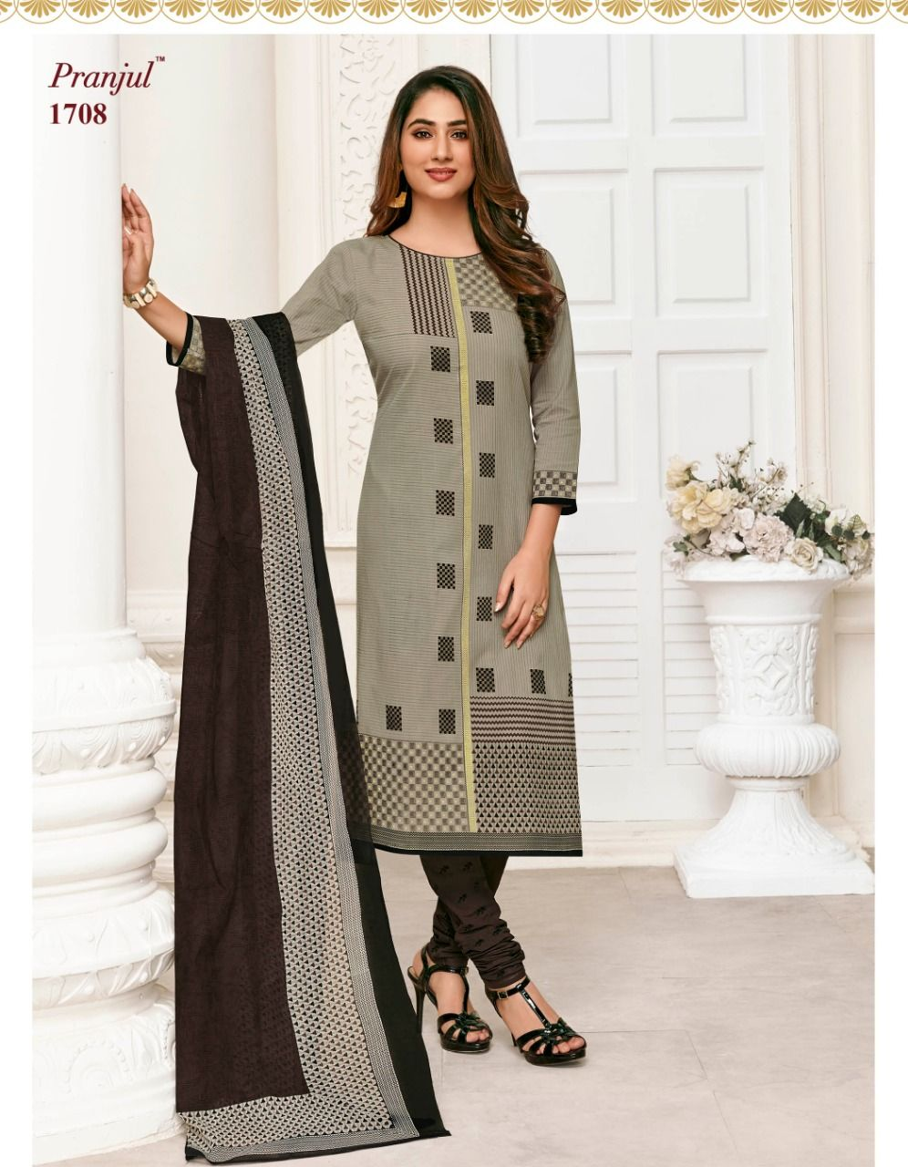 88e1925217 Pranjal Priyanka Vol-17 Cotton Dress Materials (27 Pc Set) | Cotton ...