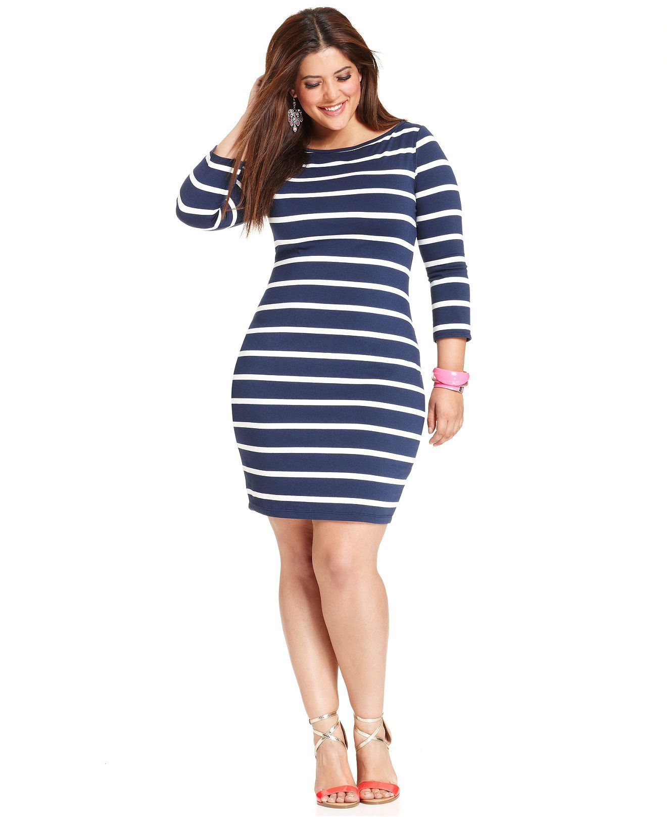 soprano plus size dress, three-quarter-sleeve striped bodycon