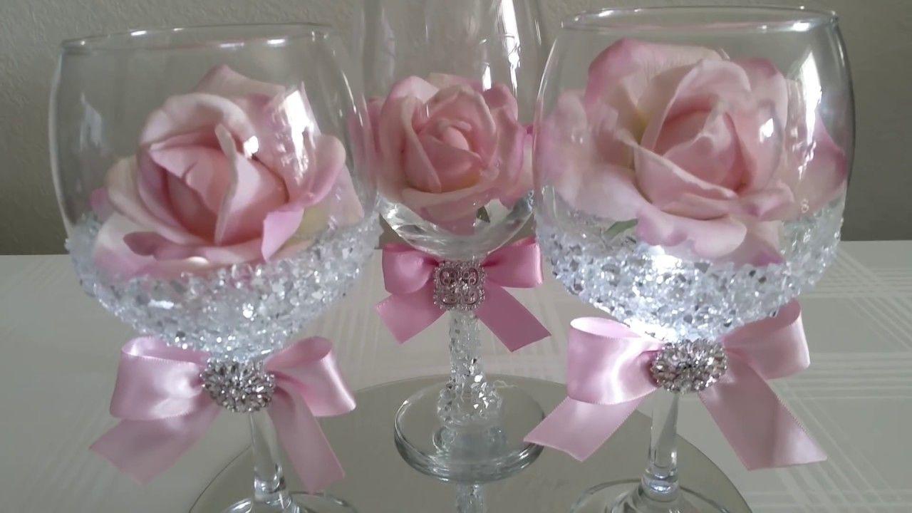 Wedding decorations dollar tree  DIY  LIGHT BLING DOLLAR TREE WINE GLASS ROSE DECOR   Youtube