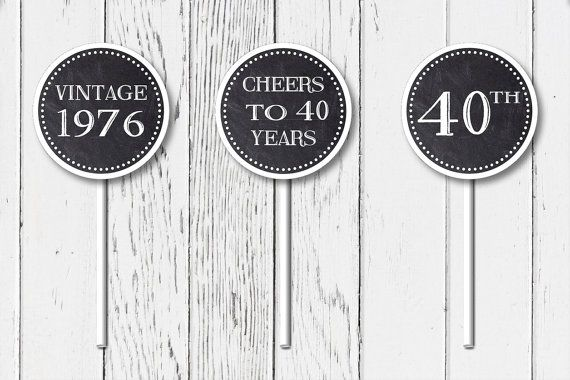 Printable 40th Birthday Party Cupcake Toppers by JessPiscesDesign