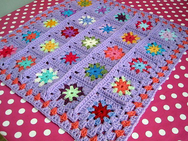 Granny Square Flower Blanket | Patterns | Pinterest