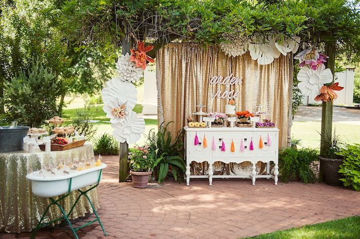 Garden Party Ideas Pinterest love the lace tablecloth Food Sweet Table From A First Birthday Garden Party Via Karas Party Ideas