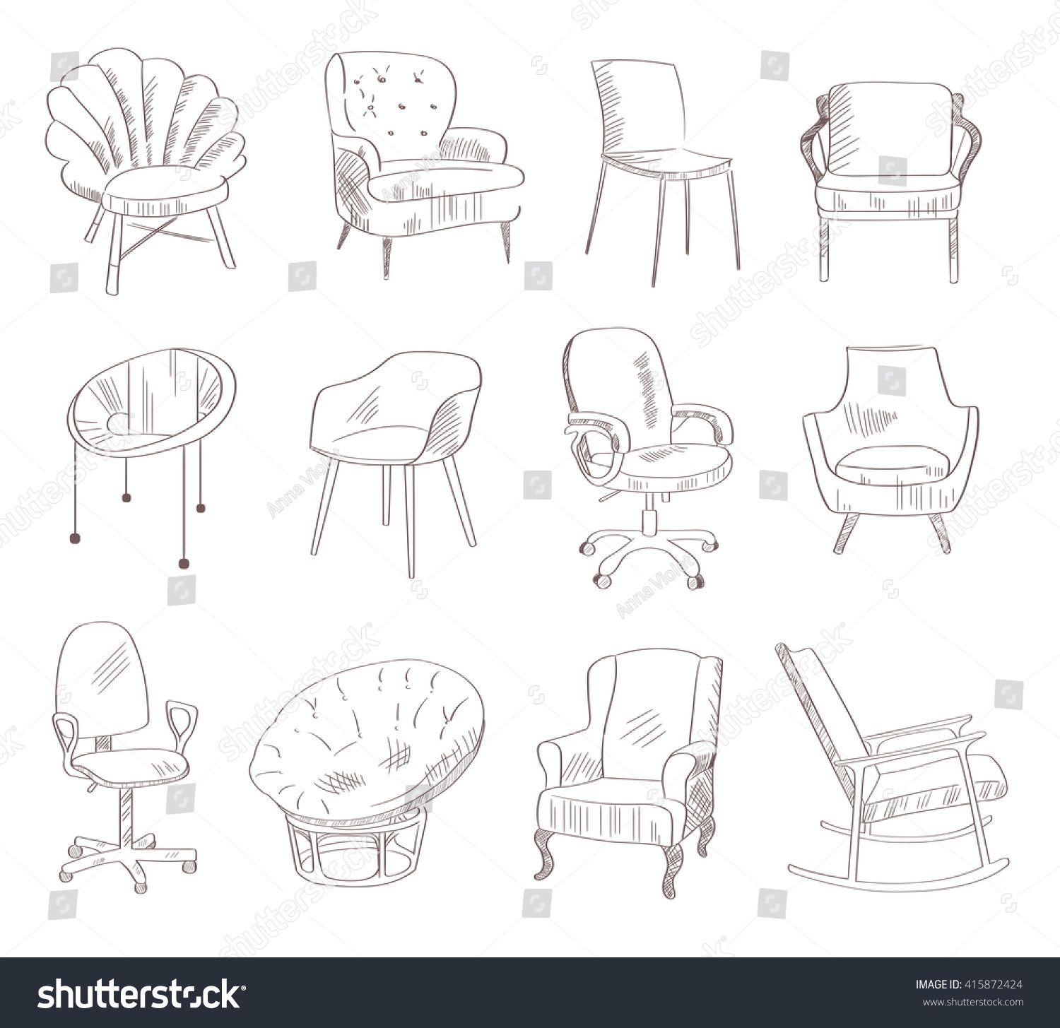Set With Chairs Vector Illustration Hand Drawn Sketch How To Draw Hands Interior Design Drawings Interior Design Sketches