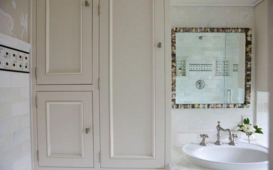Image detail for -Greige floral wallpaper marble subway tiles backsplash ivory bathroom