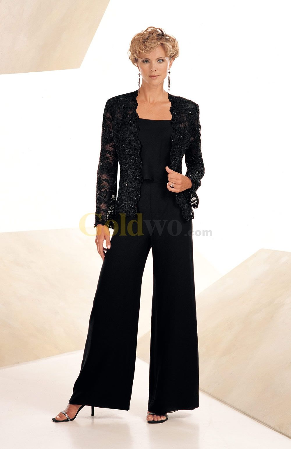 US$203.99] Elegant Black Chiffon Mother Of The Bride Pant Suits ...