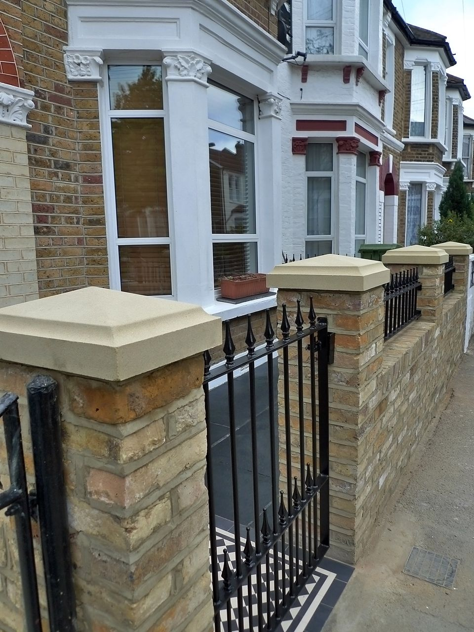 Victorian Front Garden Design London Stock Second Hand Reclaimed Brick Wall  And Natural Stone Cap Wall