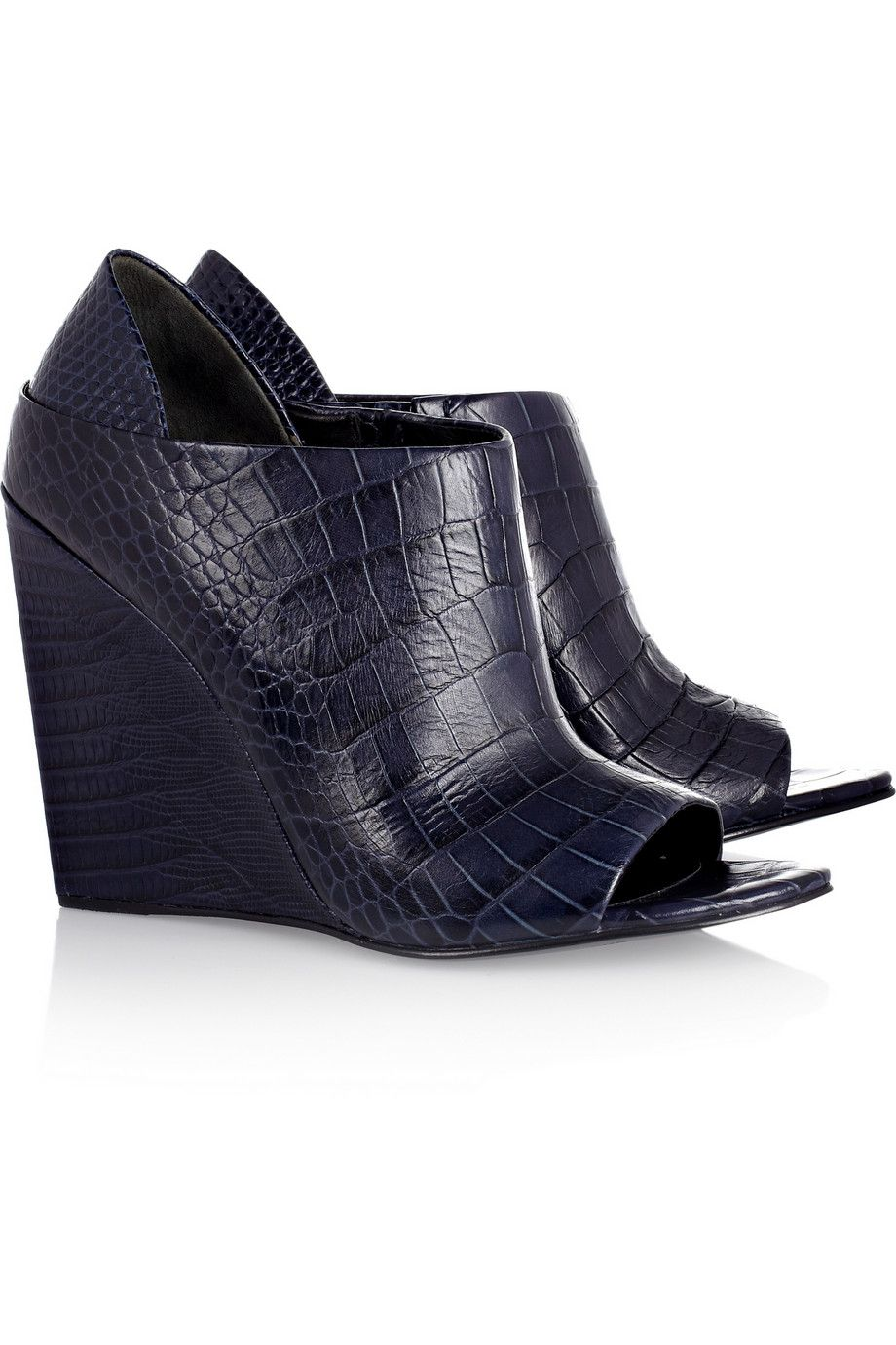 61fd63b79137fe Alla croc and lizard-effect leather wedges by Alexander Wang ...