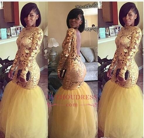 2018 African Gold Lace Mermaid Prom Dresses For Black Girls Illusion