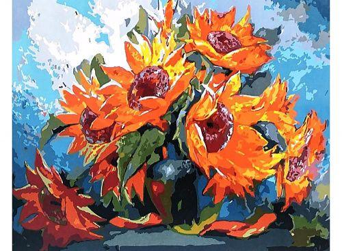 Картина по номерам «Огненные подсолнухи»   Краска ...