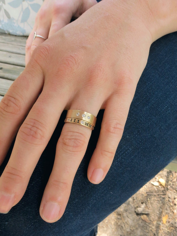 Wedding Band Set Gold Stacking Rings 14K Bands with Diamonds Roman