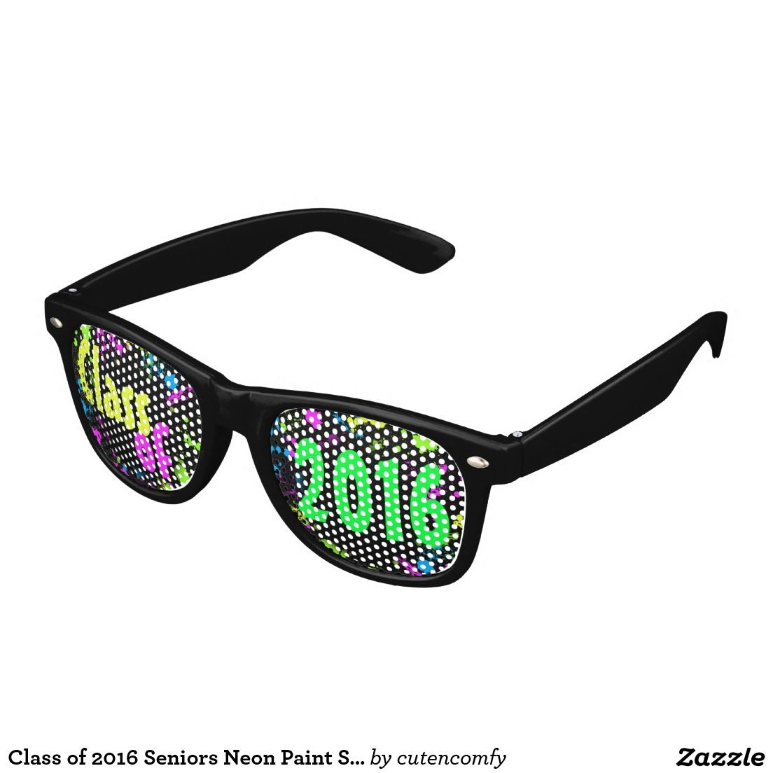 Class of 2016 Seniors Neon Paint Splash Graduation Wayfarer Sunglasses