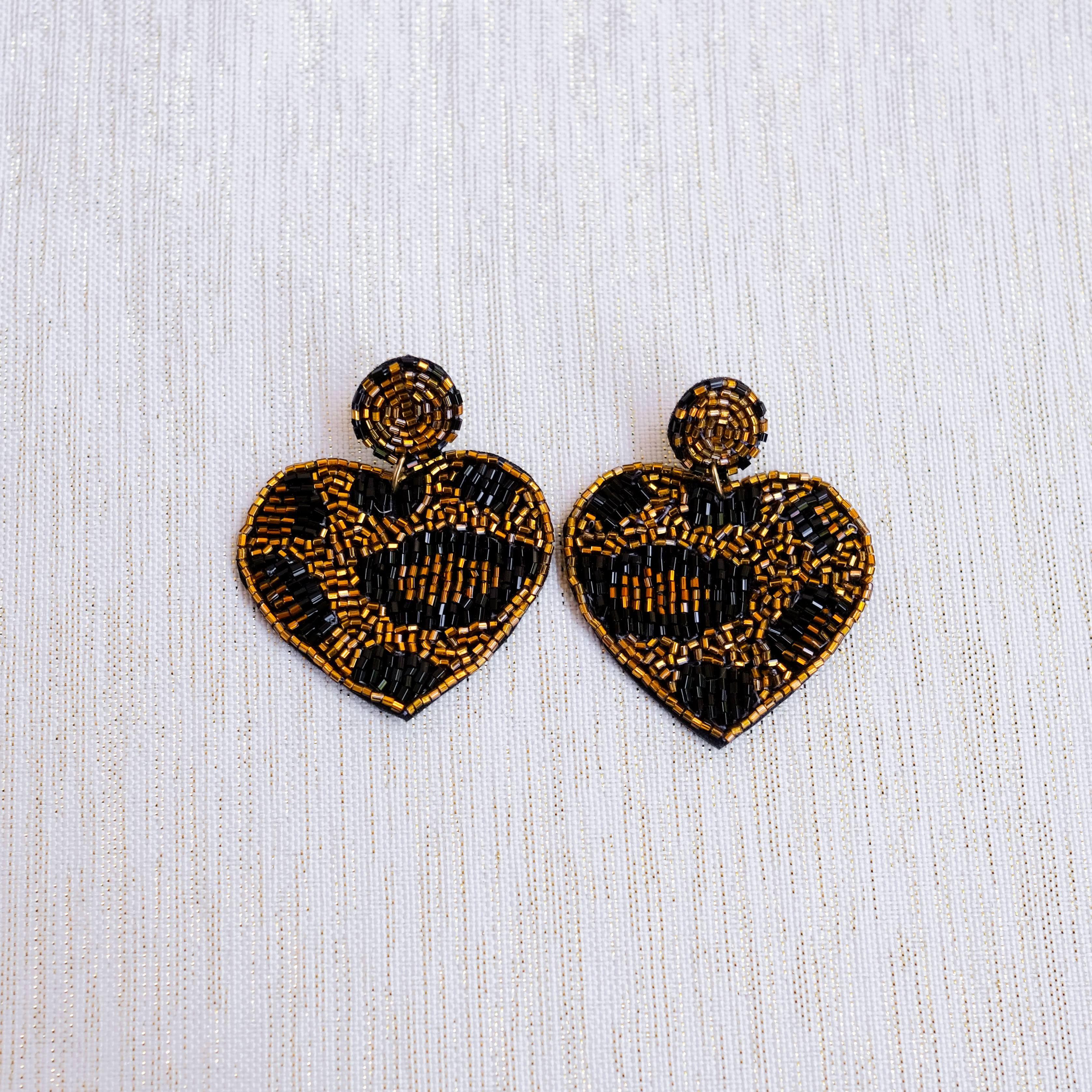 Gold Leopard Beaded Heart Earrings