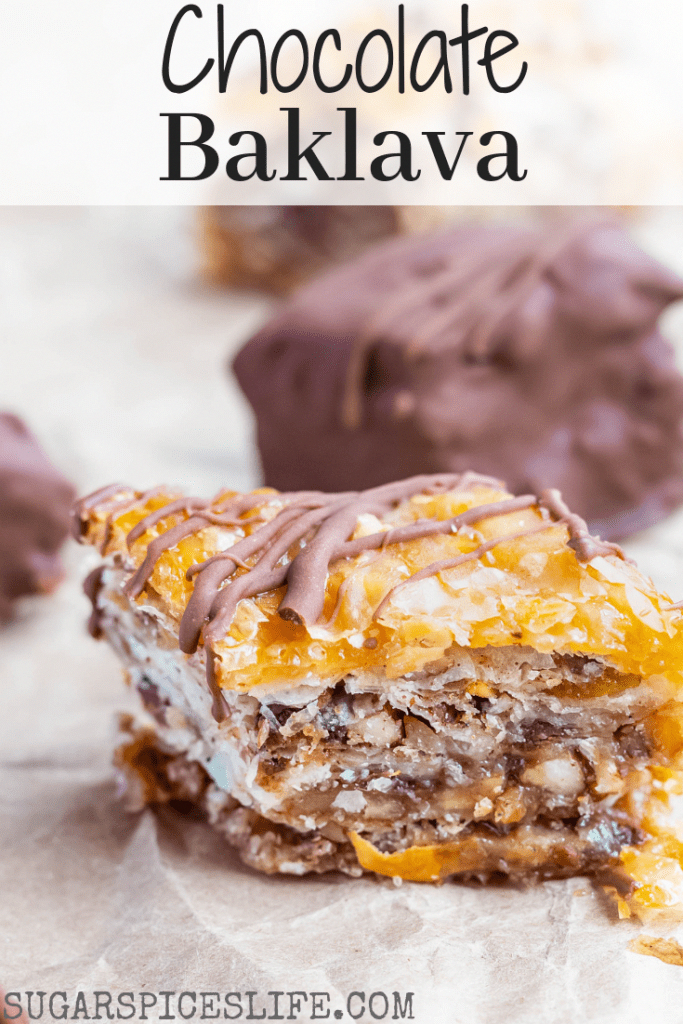 This Chocolate Baklava has phyllo sheets filled with nuts, spices and chocolate chips, and drenched with a decadent honey sauce. And finally, the pieces are either drizzled or fully coated with semi-sweet chocolate! #sugarspiceslife #baklava #choclava #greek #middleeastern #dessert #chocolate #chocolatebaklava #phyllo #chocolatesquares