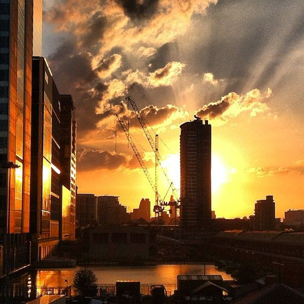 Sunset and rays from the Docklands