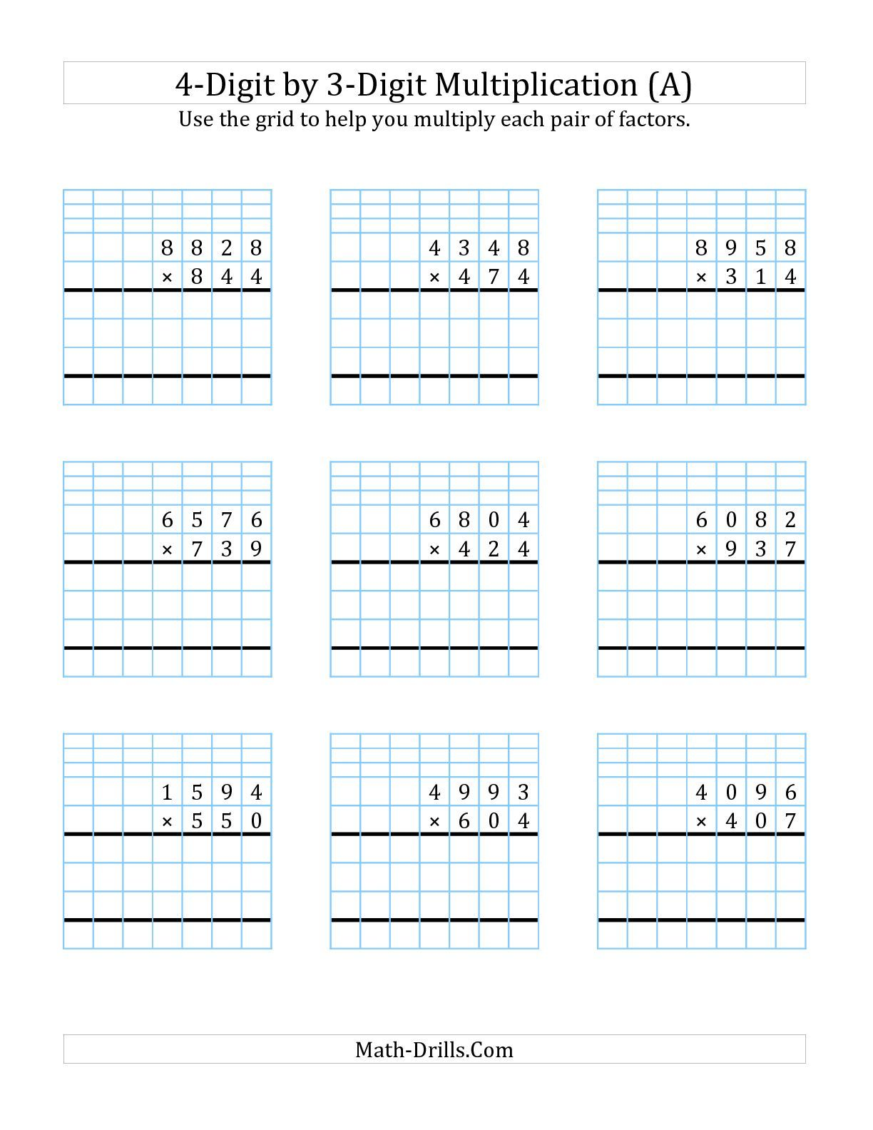 4 Digit By 2 Digit Multiplication With Grid Support A Math Worksheet Freemath