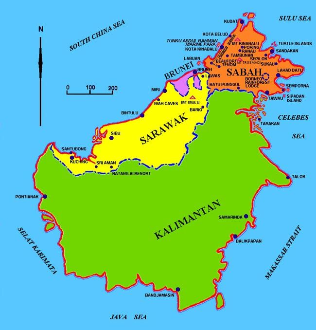 Map of Borneo Borneo Pinterest Borneo