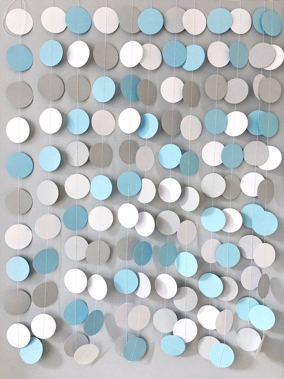 Blue Gray Paper Garland Elephant Boy Birthday Party Baby Shower Backdrop Blue Baby Shower Wedding Decorations Circle Paper Custom Garland #boybirthdayparties