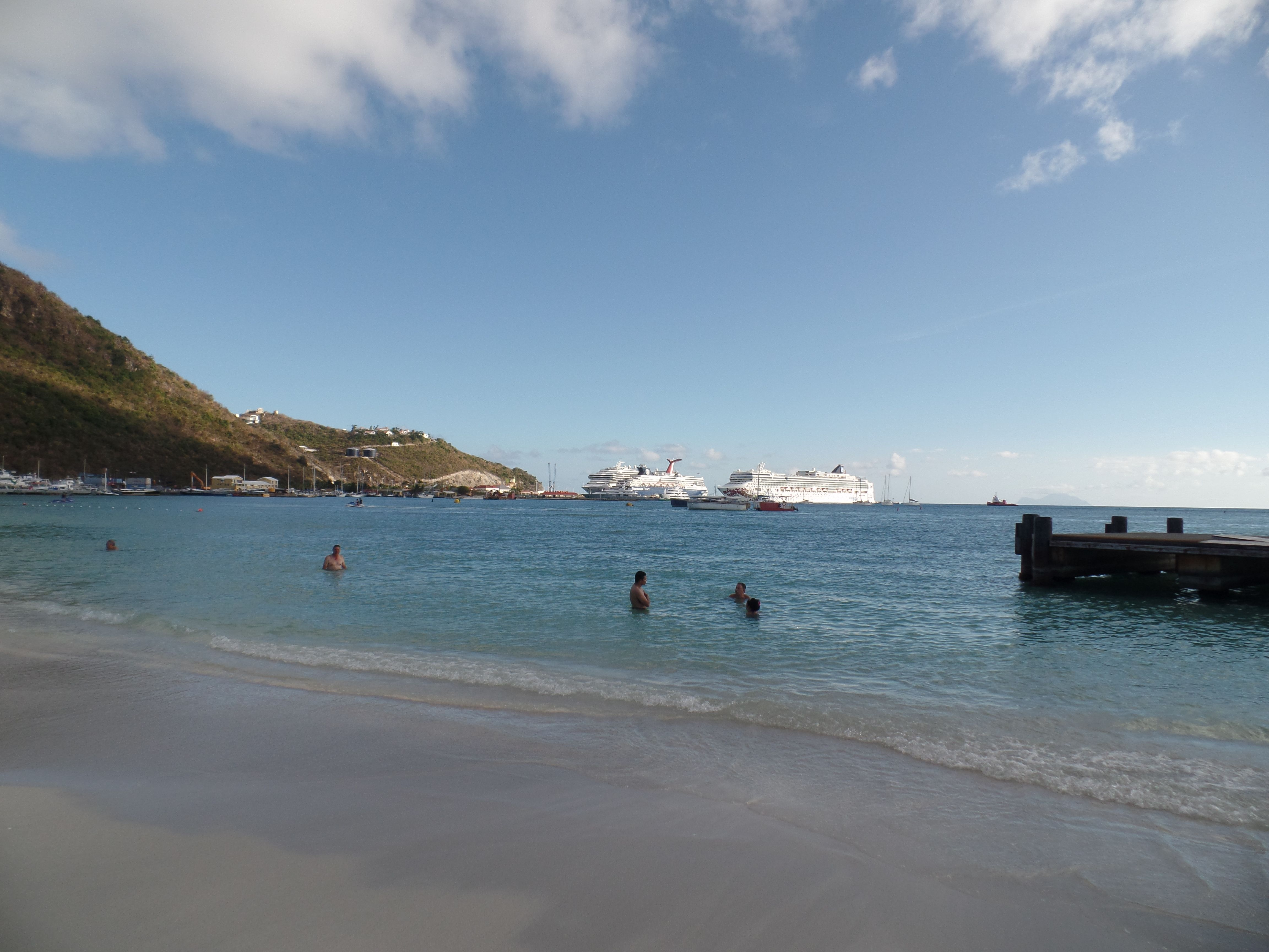 Beach at St. Maarten, with our cruise ship in the background.