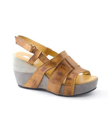 Take a look at this Mustard Weave Strap Platform Sandal by Antelope on #zulily today!