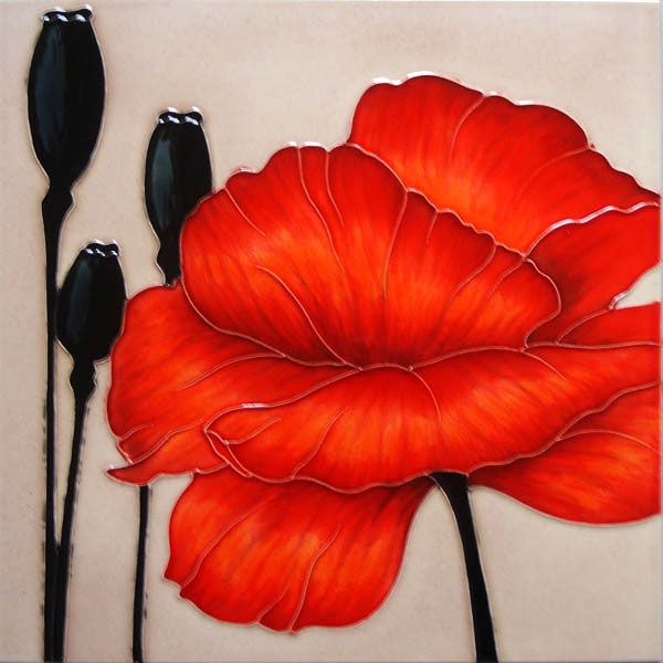 'Rouge' Red Poppy Decorative Ceramic Flower Picture Tile