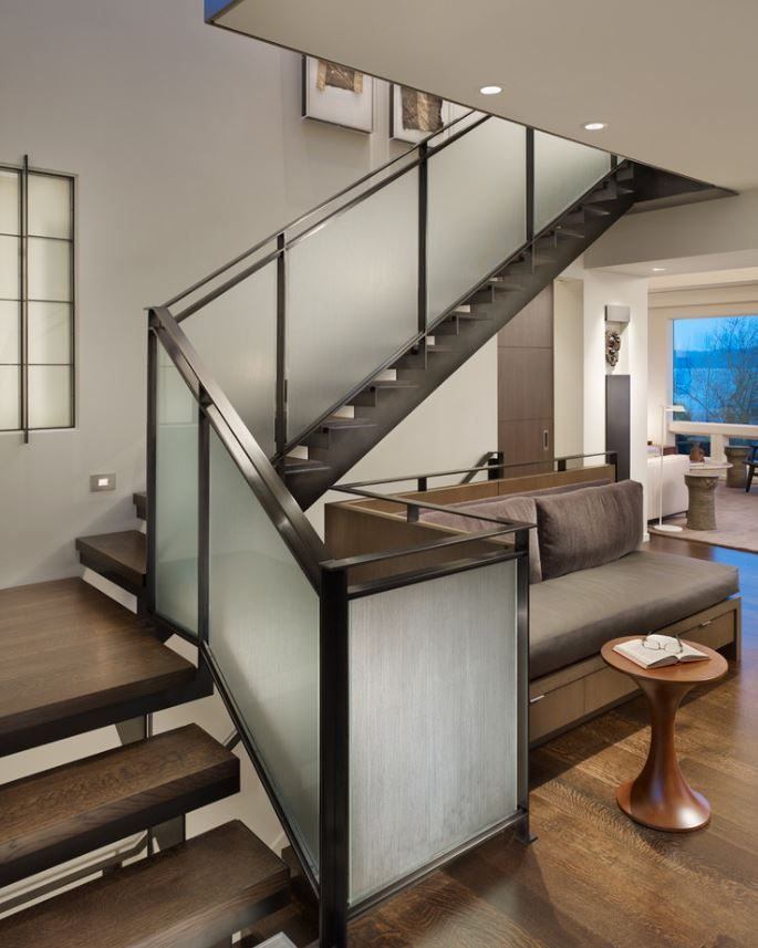 Best Frosted Glass And Metal Balustrade Glass Railing Stairs 400 x 300