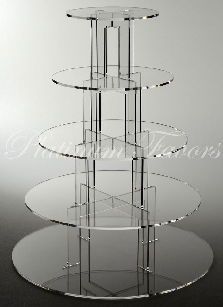 5 TIER ROUND ACRYLIC CUPCAKE STAND CLEAR WEDDING CAKE STAND $49