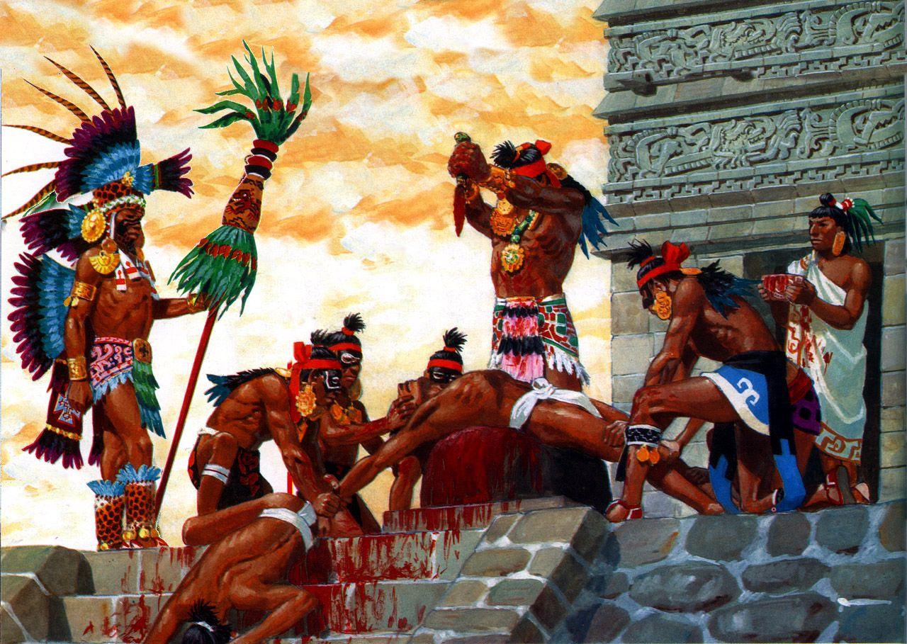 Human-Sacrific-in-Mayan-Codex Picture  |Maya Sacrifice Stamp