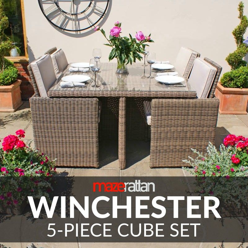Maze Rattan Furniture Winchester 5-Piece Cube Set WIN-205014 | Pinterest