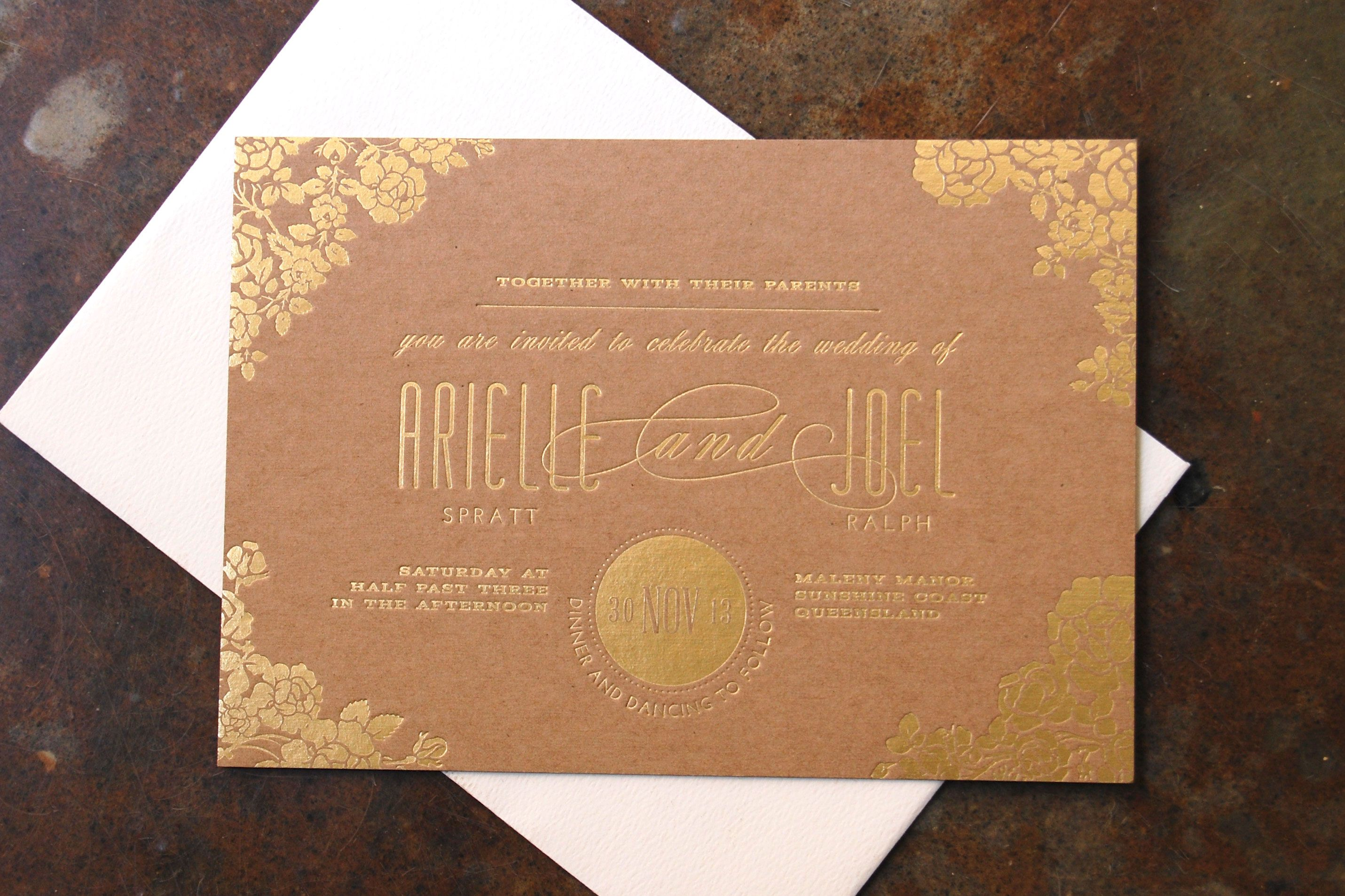 Gold Kraft Printing Foil On Buffalo Board How Beautiful Is That Finish