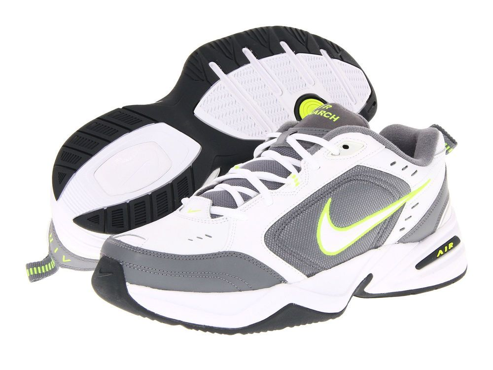 New mens nike air monarch iv white/grey/yellow running training shoes size