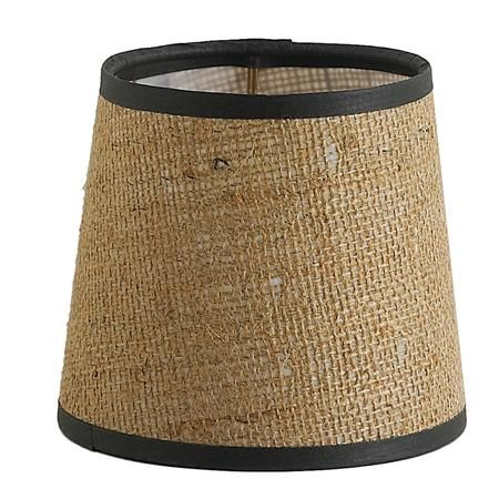 5 burlap chandelier shade with brown trim chandelier shades burlap chandelier shade candle clip styleadd this burlap shade to your favorite rustic or nautical light fixture for an authentic look aloadofball Image collections