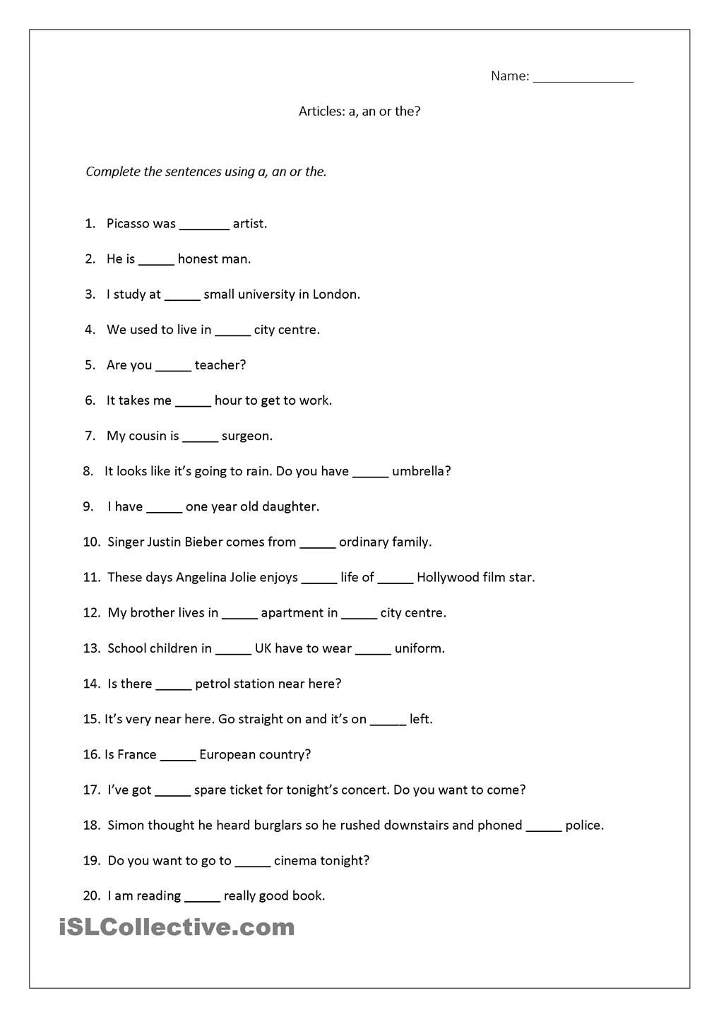 Articles worksheet (a, an, the) includes answers. | Teaching - 2nd ...