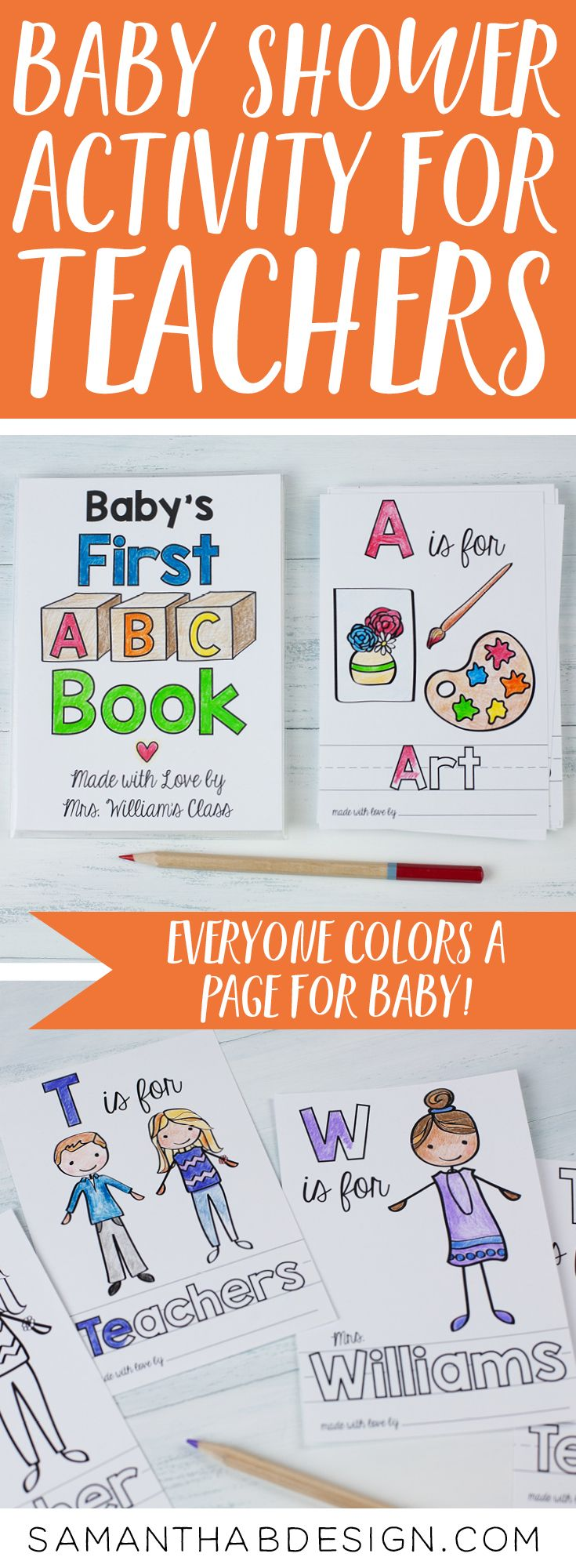 Abc Book Baby Shower Activity In School Theme Perfect Etsy Baby Shower Activities Baby Shower Book Shower Activity