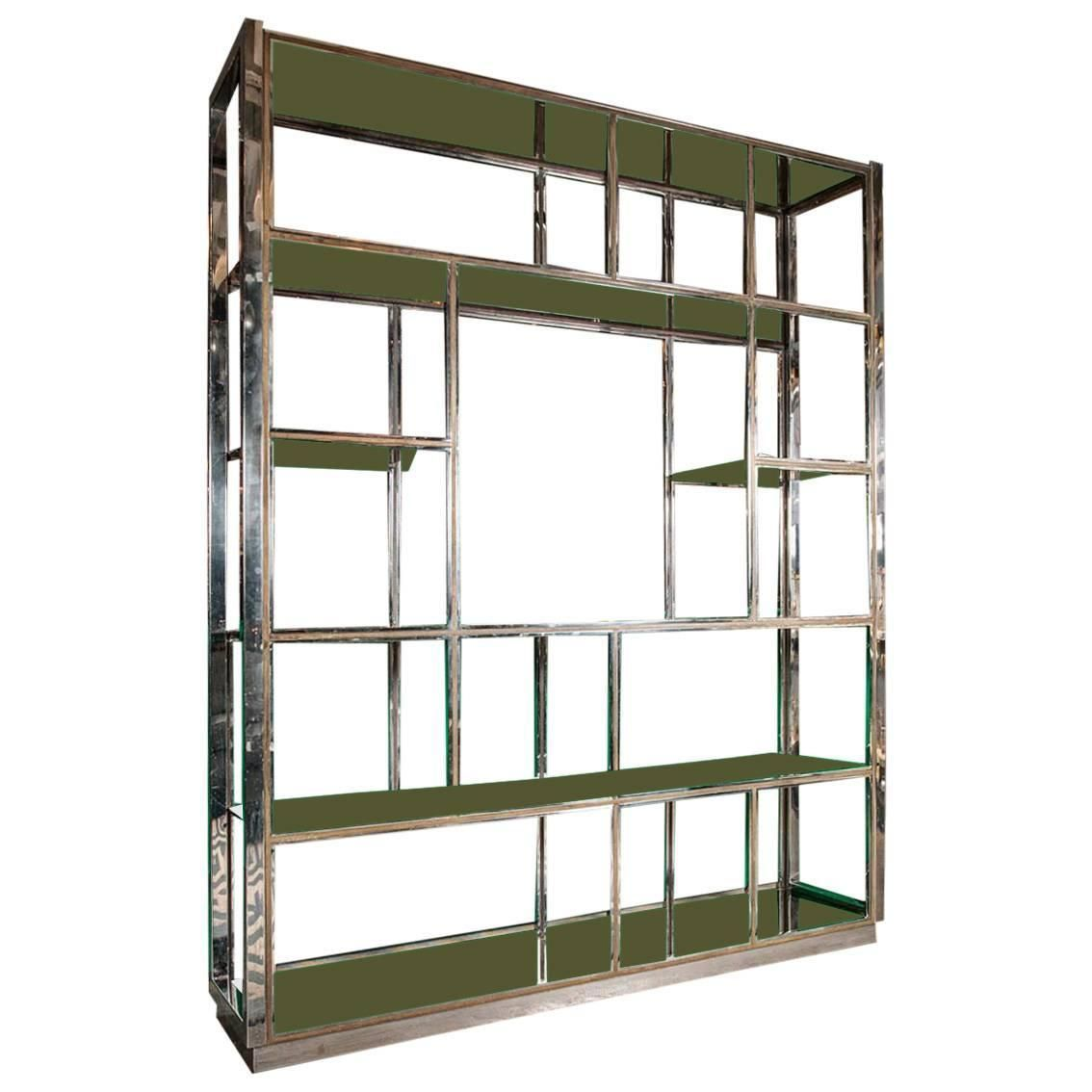 Mid Century Chrome and Glass Etagere in the Style of Milo Baughman ...