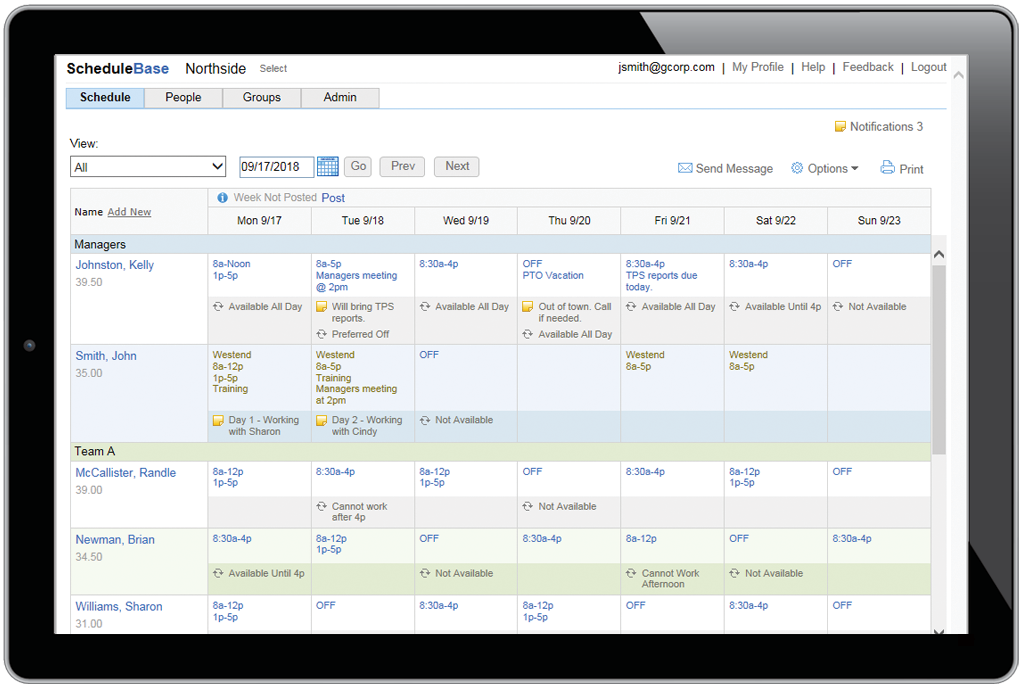 online employee scheduling software for all devices employees