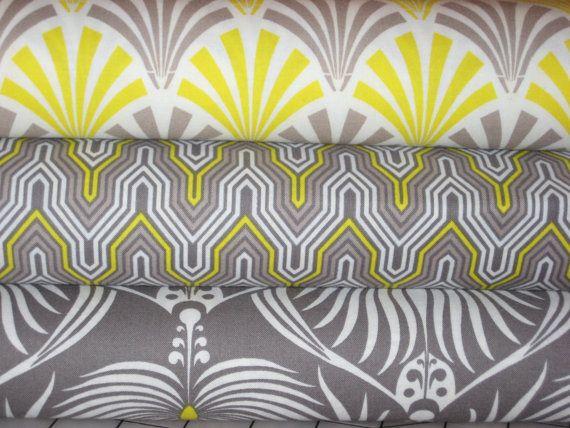 Camelot fabrics, Design Studio  combo in yellow and Grey, 1/2 yard