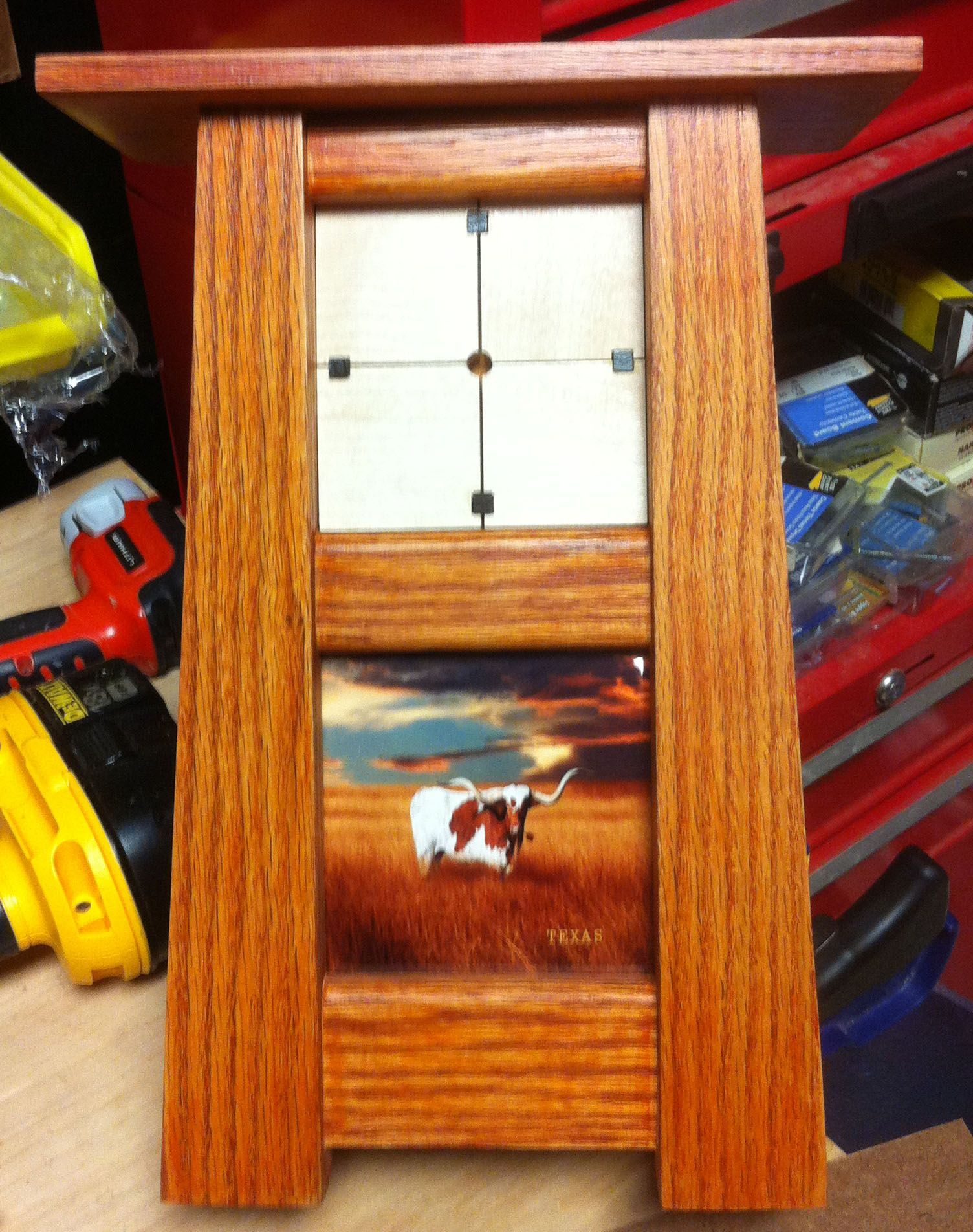 Almost completed Longhorn Clock, just waiting to receive clock movement to install