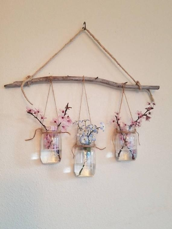 Photo of Mini Mason Jars Hanging Wall Jarrón- Mini Mason Jars Hanging