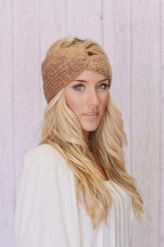 Knitted Turband Headband Caramel Ear Warmer Winter Hair Bands Twist Style Wide Headband (HB-140)