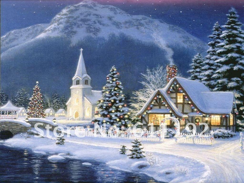thomas kinkade christmas village | Thomas Kinkade Art Oil Painting ...
