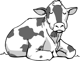 Sitting Cow Cartoon Clip Art | cow 2 cow sitting chewing a public ...