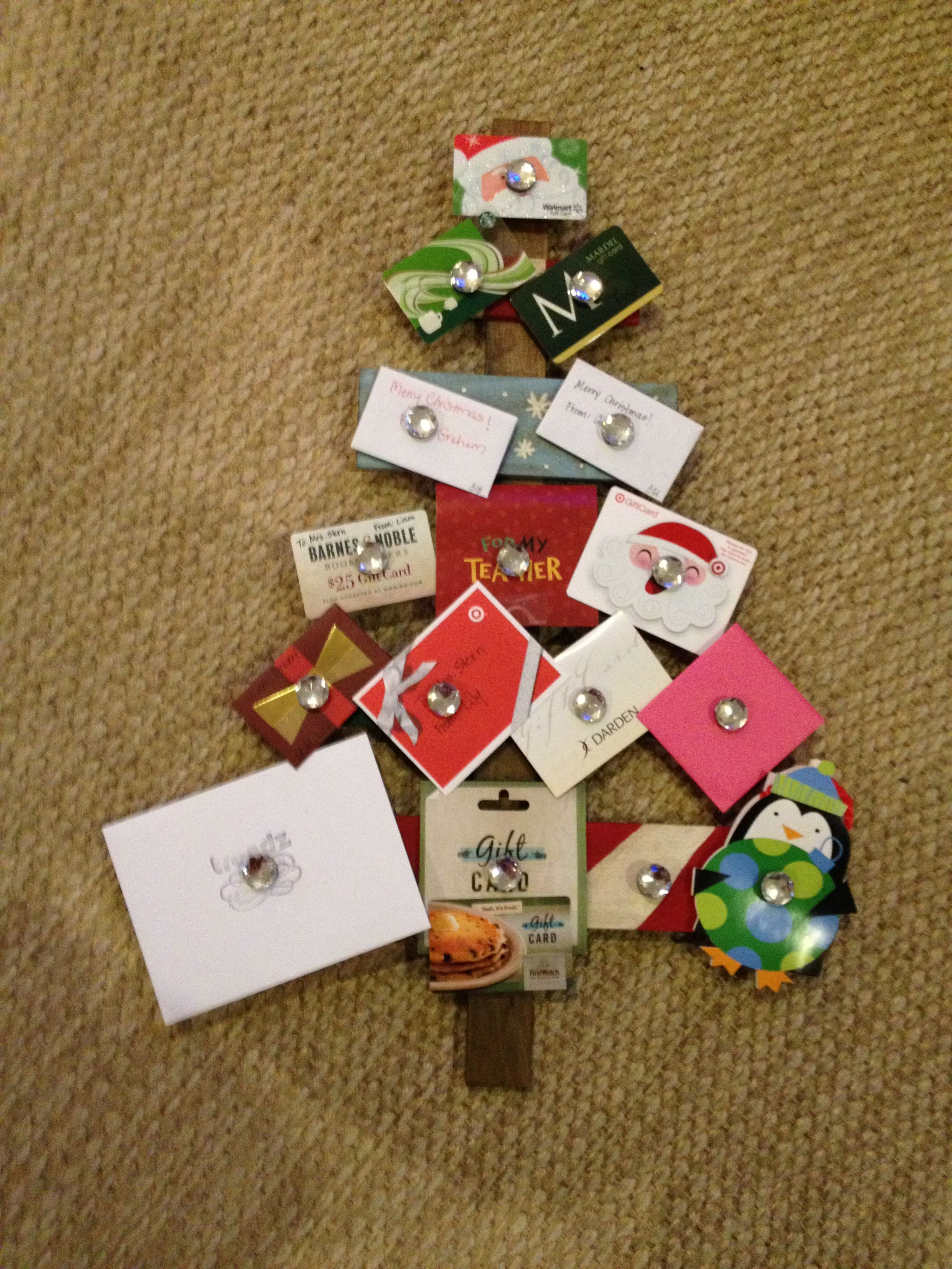 Holiday Gift Card Tree For Teachers Made With Plywood Boards Gift Card Tree Gift Card Displays Gift Card Bouquet