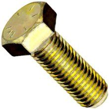 """Steel Hex Bolt, Grade 8, Zinc Yellow-Chromate Plated Finish, Hex Head, External Hex Drive, Meets ASME B18.2.1/SAE J429, 6"""" Length, Partially Threaded, 1/4""""-28 Threads, Made in US (Pack of 10)"""