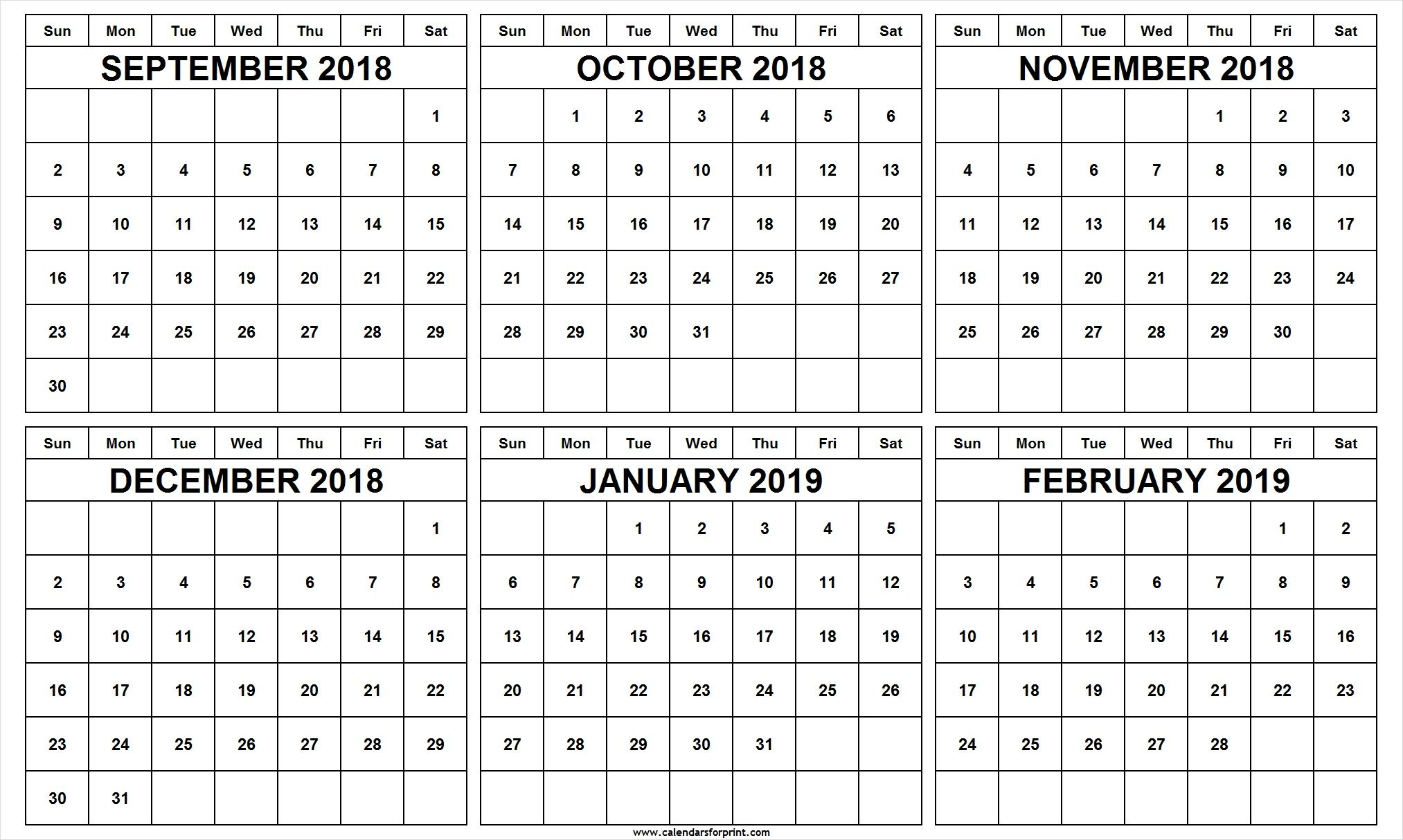 6 Month Calendar September October November December 2018 January