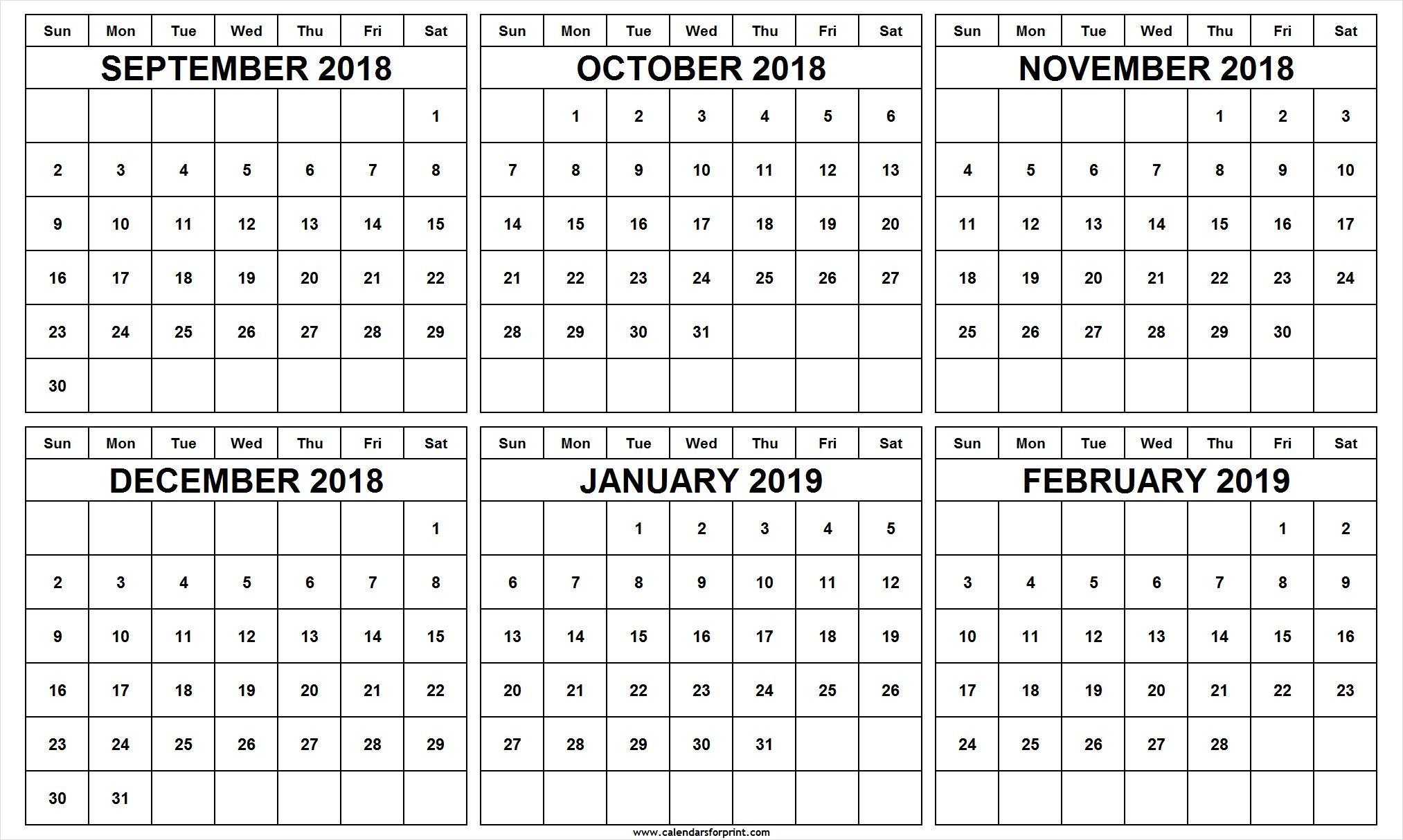 Free Printable Calendars September-December 2019 6 Month Calendar September October November December 2018 January