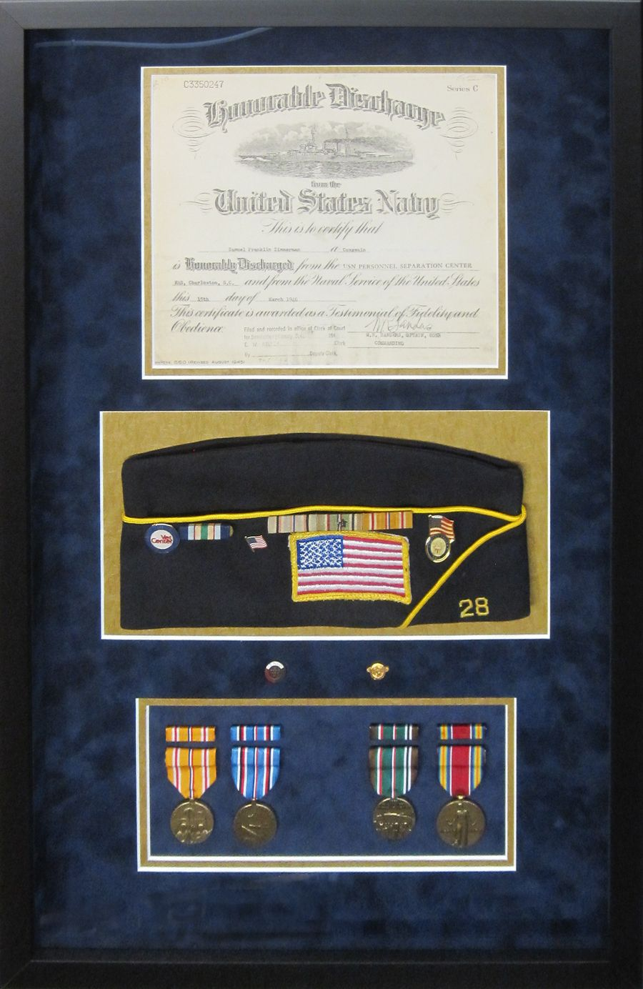 Framed And Matted Honorable Discharge Certificate With Hat And