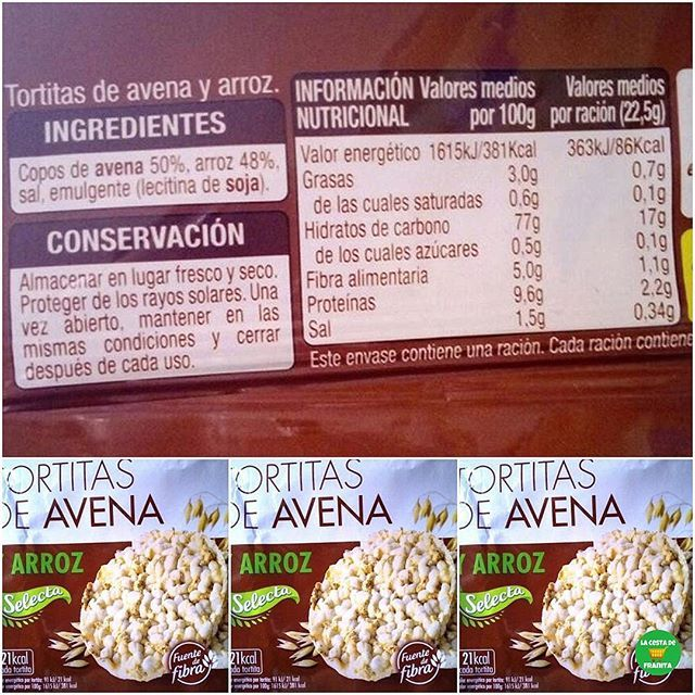 Tortitas De Avena Y Arroz Selecta Supermercado Mercadona P V P 1 40 Euros Aprox Almudenitas Tortitas De Avena Copos De Avena Tortas